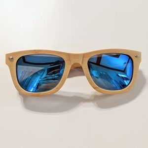 Day Drinkers // Bamboo Frame Blue Lens Sunglasses